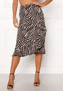 ONLY Ana Wrap Frill Skirt Black/Zebra Bubbleroom.fi