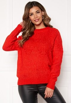 ONLY Anelia L/S Pullover Fiery Red Bubbleroom.fi