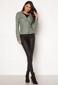 ONLY Ava Faux Leather Biker Chinois Green Bubbleroom.fi