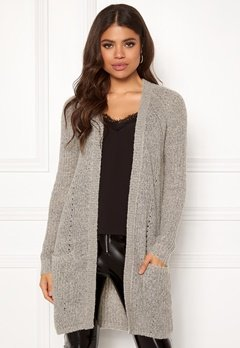 ONLY Bernice L/S Cardigan Knit Light Grey Melange Bubbleroom.fi