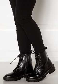 ONLY Bold PU Lace Up Boot Black Bubbleroom.fi