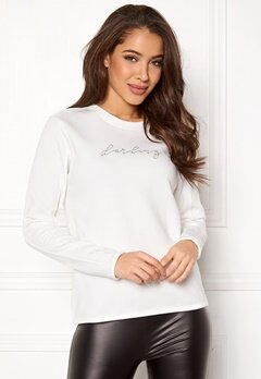 Jacqueline de Yong Brianna L/S Crop Sweat Cloud Dancer Bubbleroom.fi