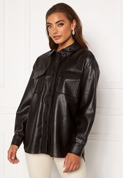 ONLY Brylee-Dionne Faux Leather Shirt Black Bubbleroom.fi