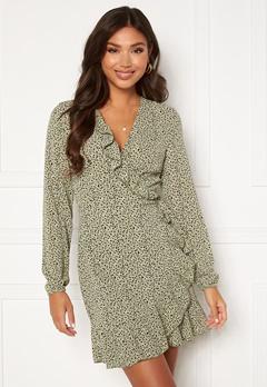 ONLY Carly L/S Wrap Dress Seagrass / Multi Dot Bubbleroom.fi