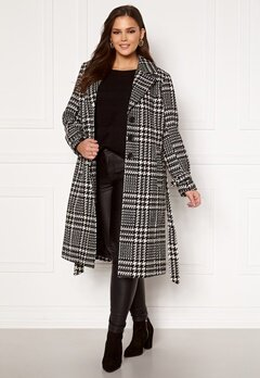 Only Carmakoma Fandanga LS Long Coat Black, AOP Bubbleroom.fi