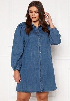 Only Carmakoma Ontan Life LS Knee Dress Dark Blue Denim Bubbleroom.fi