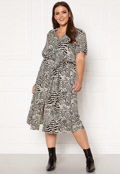 Only Carmakoma Tukzu SS Calf Shirt Dress Ecru, AOP Leoness Bubbleroom.fi