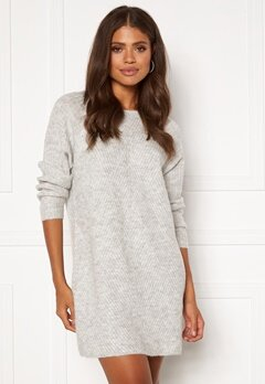 ONLY Carol L/S Dress Knit Light Grey Melange Bubbleroom.fi