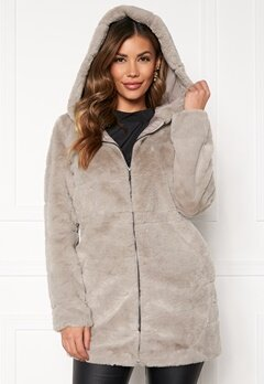 ONLY Chris Fur Hooded Coat Ash Bubbleroom.fi