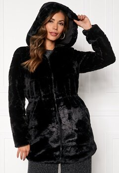 ONLY Chris Fur Hooded Coat Black Bubbleroom.fi