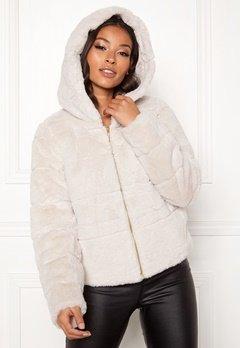 ONLY Chris Fur Hooded Jacket Pumice Stone Bubbleroom.fi