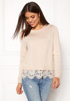 ONLY Cilla L/S Lace Pullover Pumice Stone Bubbleroom.fi
