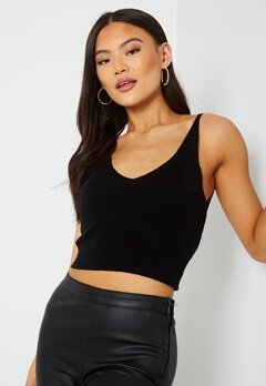 ONLY Cozy S/L Cropped Top Knit Black bubbleroom.fi