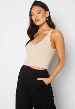 ONLY Cozy S/L Cropped Top Knit Pumice Stone bubbleroom.fi