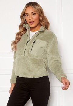 ONLY Dalina L/S 1/2 Zip Teddy Swt Desert Sage Bubbleroom.fi