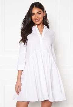 ONLY Ditte Fold Up 3/4 Shirt Dress White Bubbleroom.fi