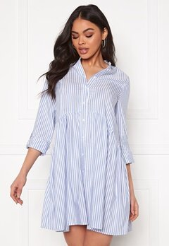ONLY Ditte Fold Up 3/4 Stripe Dress Cloud Dancer/Stripes Bubbleroom.fi