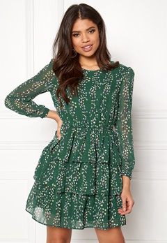ONLY Ditte L/S Layred Dress Posy Green Bubbleroom.fi