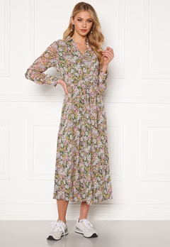 ONLY Ellie L/S Midi Dress Wvn Black, pastel flower Bubbleroom.fi