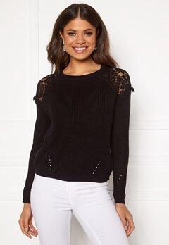 ONLY Elrosa L/S Lace Pullover Black Bubbleroom.fi