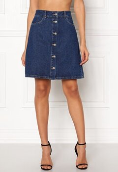 ONLY Farrah Reg Denim Skirt Dark Blue Denim Bubbleroom.fi