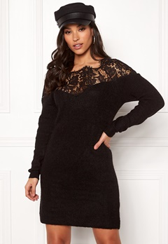 ONLY Hanna Ally L/S Lace Dress Black Bubbleroom.fi