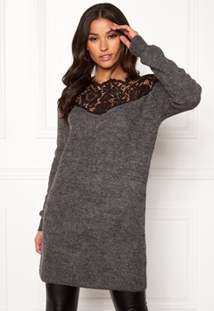 ONLY Hanna Ally L/S Lace Dress Dark Grey Melange Bubbleroom.fi