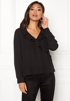 ONLY Intu L/S Frill Wrap Shirt Black Bubbleroom.fi