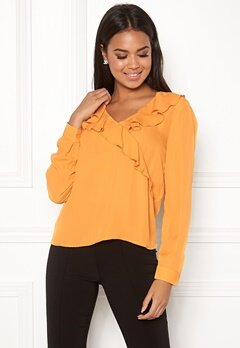 ONLY Intu L/S Frill Wrap Shirt Mineral Yellow Bubbleroom.fi