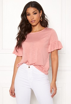 ONLY Isa S/S Frill Top Rose Tan Bubbleroom.fi