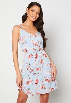 ONLY Karmen S/L Short Dress Cashmere Blue/Flower Bubbleroom.fi