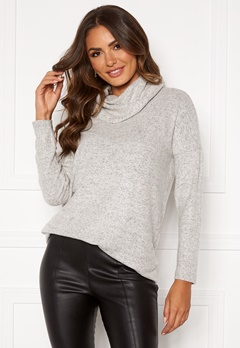 ONLY Kleo Rollneck Pullover Light Grey Melange Bubbleroom.fi