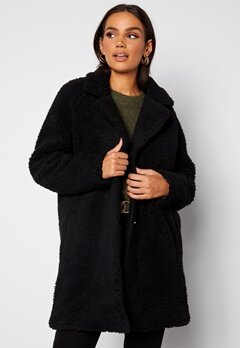 ONLY Laurelia Sherpa Coat Black Bubbleroom.fi