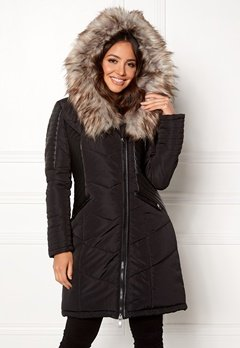 ONLY Linette Fur Hood Coat Black Bubbleroom.fi