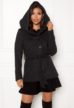 ONLY Lisa Hooded Wool Coat Black Bubbleroom.fi