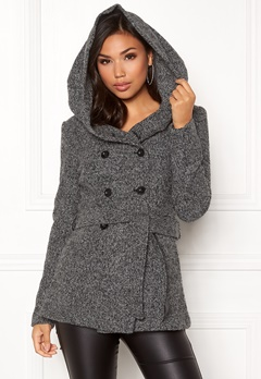 ONLY Lisa Hooded Wool Coat Medium Grey Melange Bubbleroom.fi