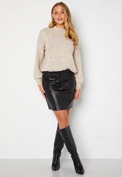 ONLY Maiya-Miri Faux Leahter Skirt Black bubbleroom.fi