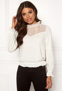 ONLY Melia L/S Lace Top Cloud Dancer Bubbleroom.fi