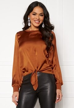 ONLY Mia L/S Knot Top Ginger Bread Bubbleroom.fi