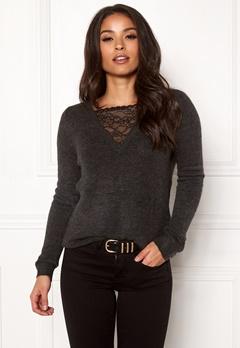 ONLY Miramar L/S Lace Pullover Dark Grey Melange Bubbleroom.fi