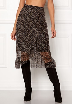 ONLY Moni Leo Mesh Skirt Black/Leo Bubbleroom.fi
