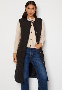 ONLY Nayra S/L Long Quilt Vest Black Bubbleroom.fi