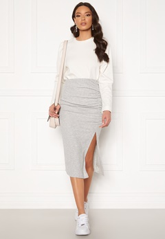 ONLY Nella Slit Skirt Light Grey Melange Bubbleroom.fi