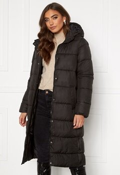 ONLY Newcammie Long Quilted Coat OTW Black Bubbleroom.fi