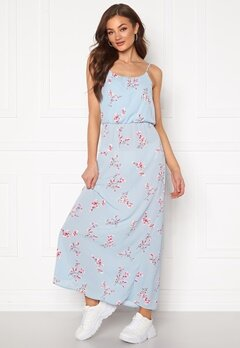 ONLY Nova Lux S/L Maxi Dress Cashmere Blue Bubbleroom.fi