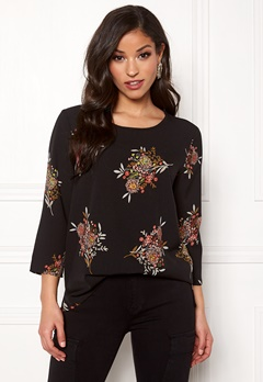 ONLY Nova Win 3/4 Sleeve Top Black/Asian Bloom Bubbleroom.fi