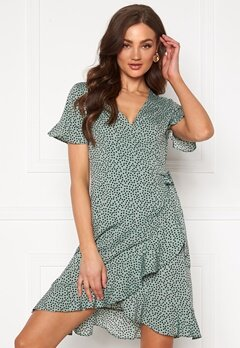 ONLY Olivia S/S Wrap Dress Chinois Green Bubbleroom.fi