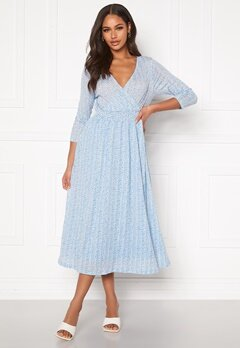 ONLY Pella 3/4 AOP Dress Cashmere Blue Bubbleroom.fi
