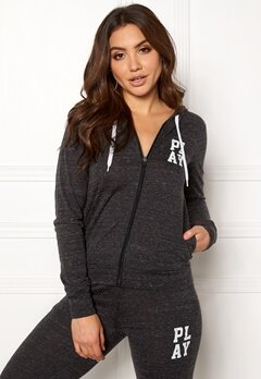 ONLY PLAY Halle Hood Zip Sweat Black/Melange Bubbleroom.fi