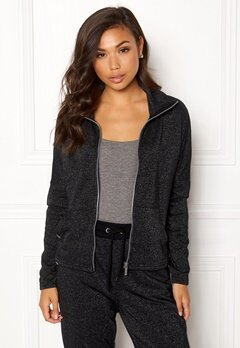 ONLY PLAY Zira Glitter Zip Sweat Black Bubbleroom.fi